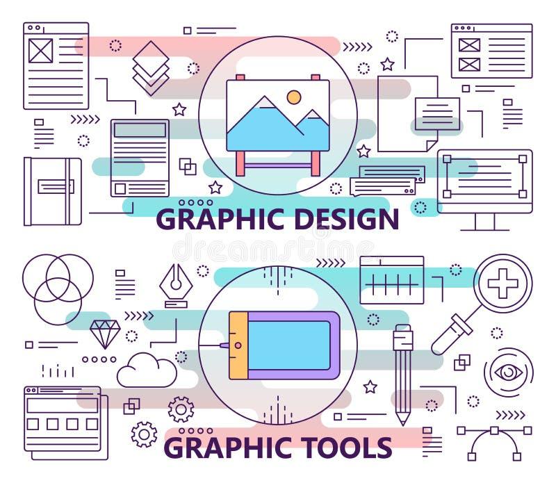 Wektorowy ustawiający sztandary z graficznego projekta i grafika narzędzi pojęcia szablonami Nowożytni ciency kreskowi płascy pro ilustracji
