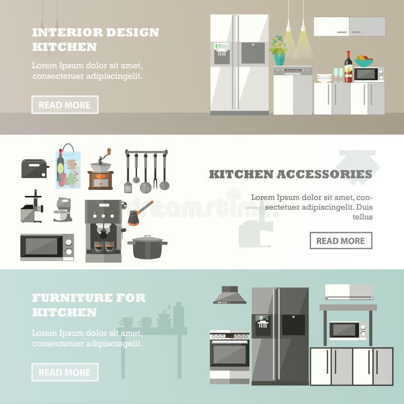 Wektorowy ustawiający sztandary z kuchennym wnętrzem, akcesoriami i meble, ilustracji