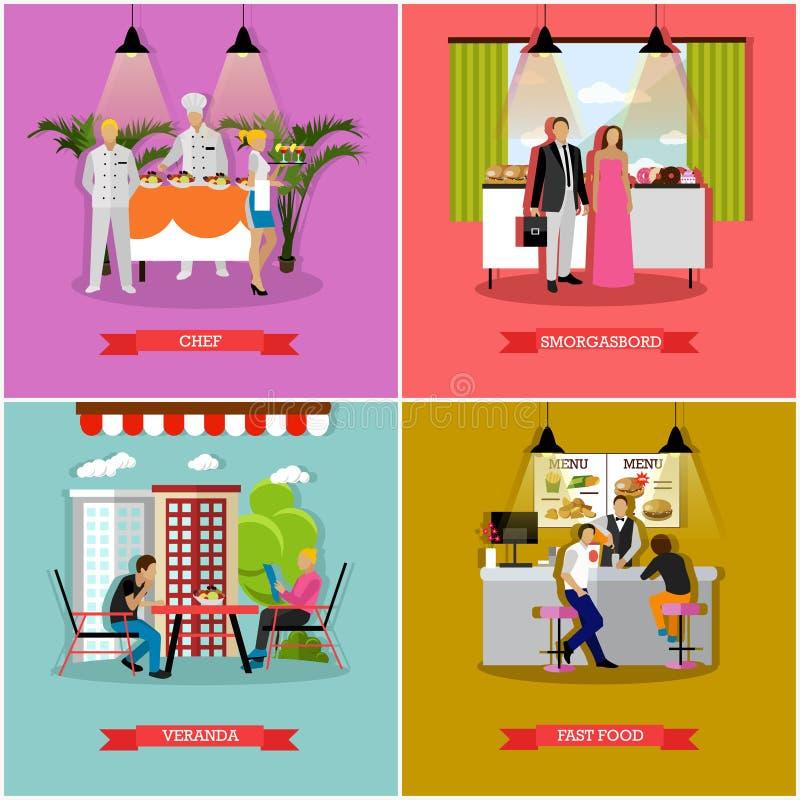 Wektorowy ustawiający sztandary z restauracją, cukierniani wnętrza, mieszkanie styl ilustracji