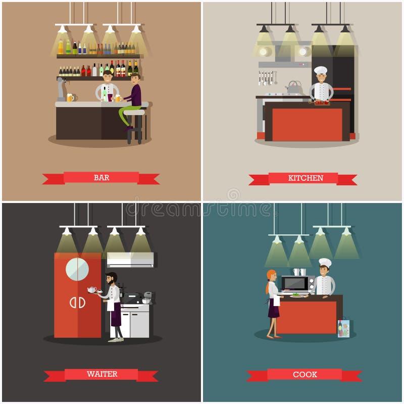 Wektorowy ustawiający sztandary z restauracyjnymi wnętrzami Bar, kuchnia, szefa kuchni kucharz i kelnerów charaktery, royalty ilustracja