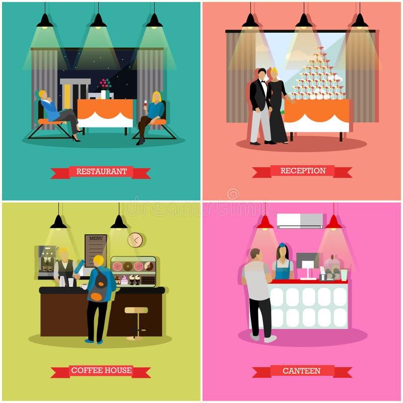 Wektorowy ustawiający sztandary z restauracyjnymi wnętrzami, ludzie, mieszkanie styl royalty ilustracja