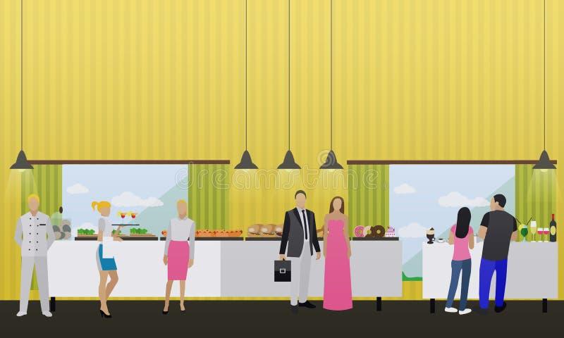 Wektorowy ustawiający sztandary z restauracyjnymi wnętrzami Smorgasbord bufeta przyjęcie ilustracji