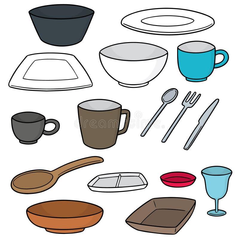 Wektorowy ustawiający tableware ilustracji