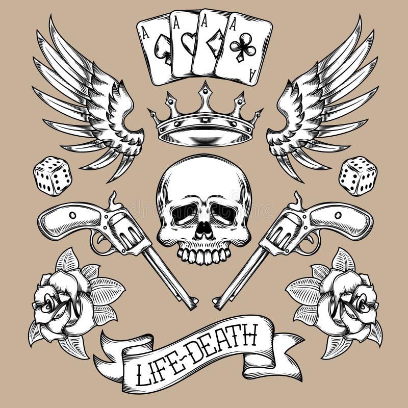 Wektorowy ustawiający tatuaże royalty ilustracja