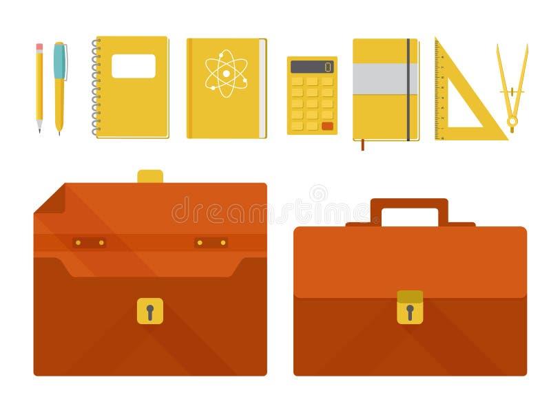 Wektorowy ustawiający teczka i szkolne dostawy royalty ilustracja