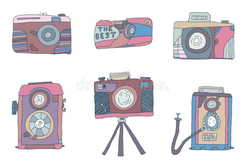Wektorowy ustawiający tonie kamery fotografię ilustracja wektor