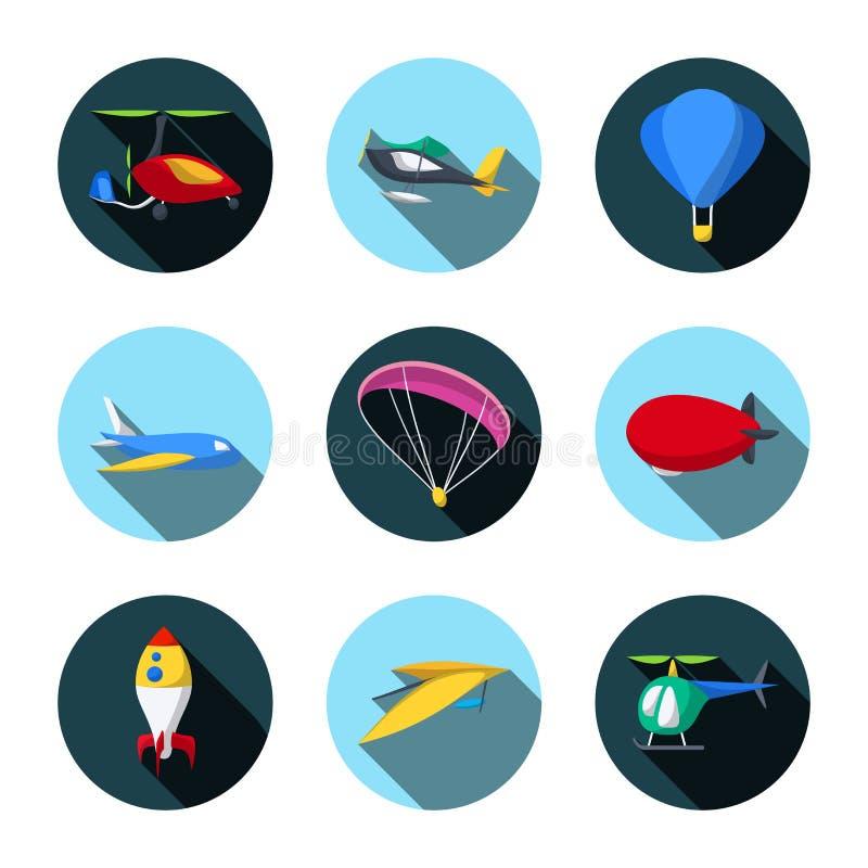 Wektorowy Ustawiający transport powietrzny ikony Mieszkanie styl royalty ilustracja