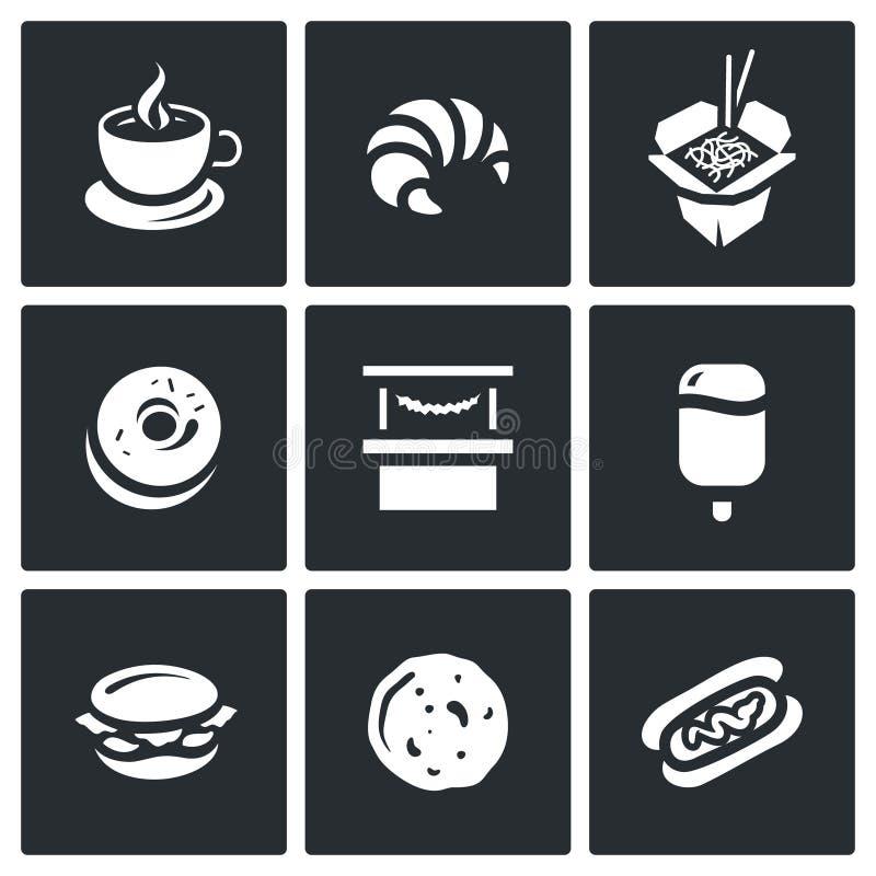 Wektorowy Ustawiający Uliczne fast food ikony Kawa, Croissant, Chiński kluski, pączek, sklep, lody, hamburger, blin, Hotdog ilustracja wektor