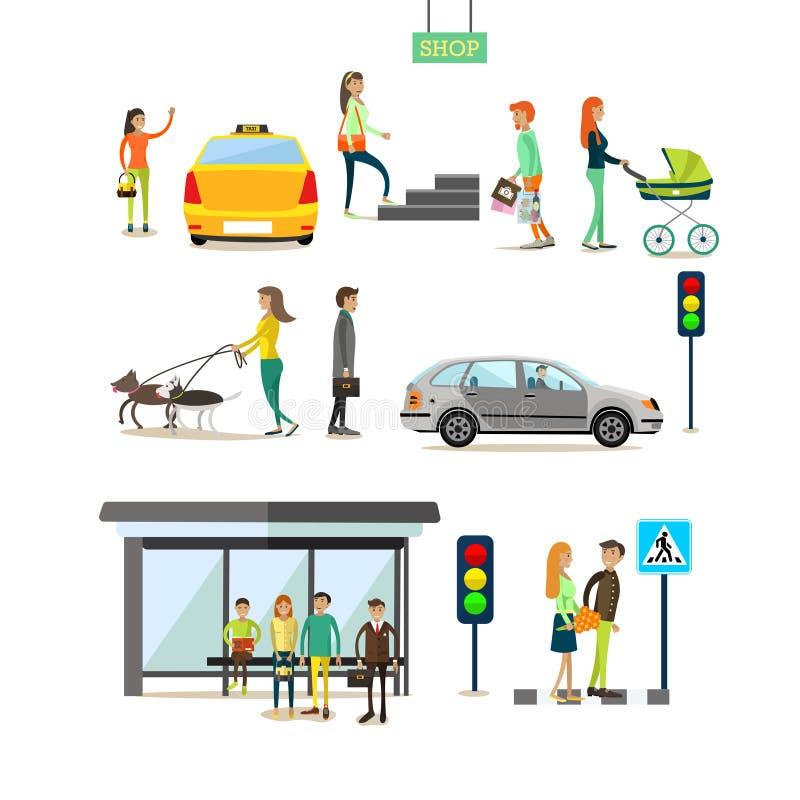 Wektorowy ustawiający uliczni ruchu drogowego pojęcia projekta elementy, mieszkanie styl ilustracji