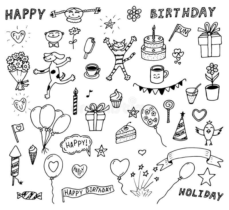 Wektorowy ustawiający urodzinowi doodles ilustracja wektor