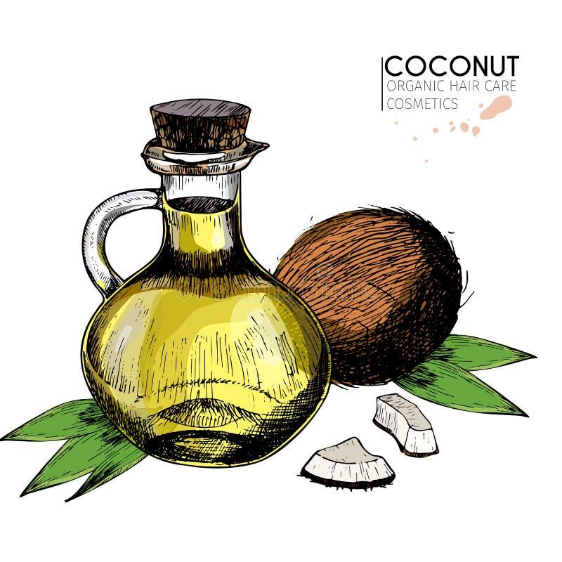 Wektorowy ustawiający włosianej opieki składniki Organicznie ręka rysujący barwioni elementy Koks, nafciana butelka i liście, royalty ilustracja