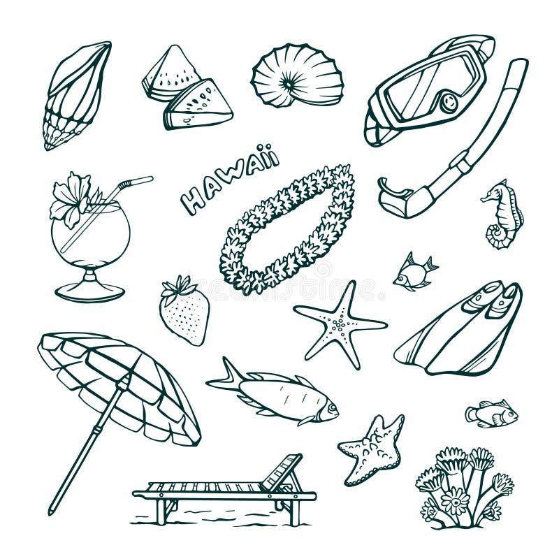 Wektorowy ustawiający wakacje przy morzem Odosobneni ręka rysunki na białym tle ilustracji