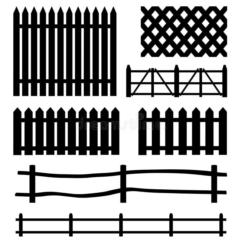 Wektorowy ustawiający wiejskie ogrodzenie sylwetki ilustracja wektor