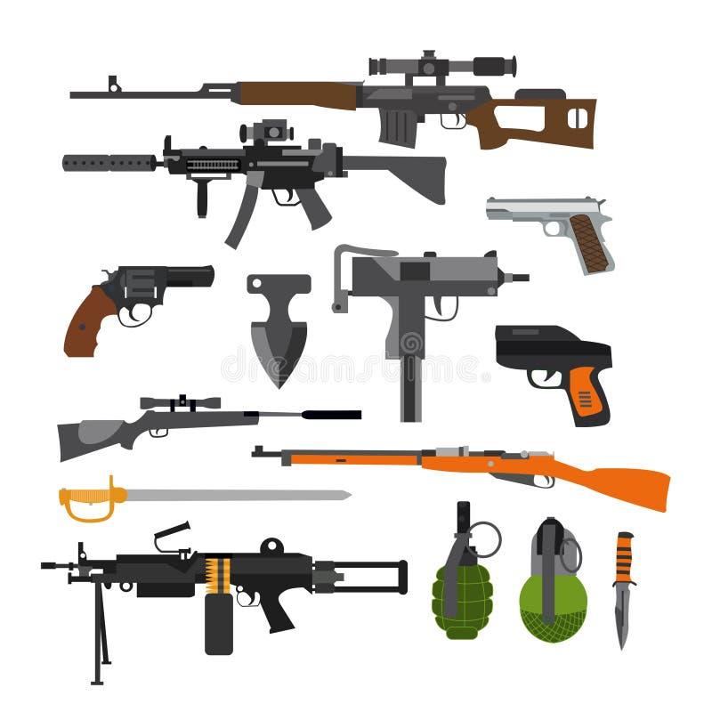 Wektorowy ustawiający wojsko walki bronie Ikony odizolowywać na białym tle Pistolet, karabiny, granat royalty ilustracja