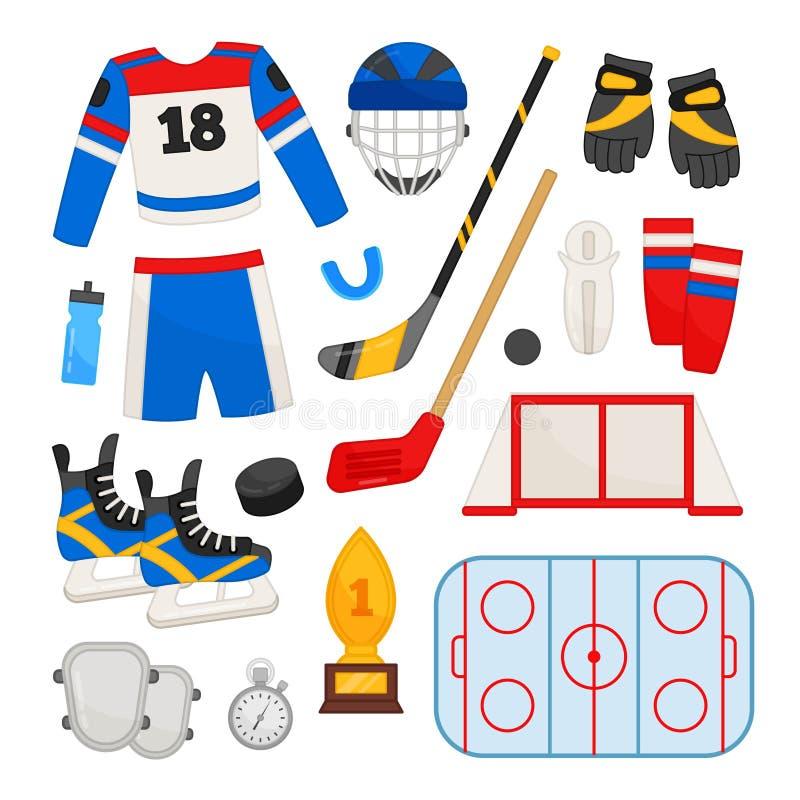 Wektorowy ustawiający wyposażenie dla hokeja royalty ilustracja