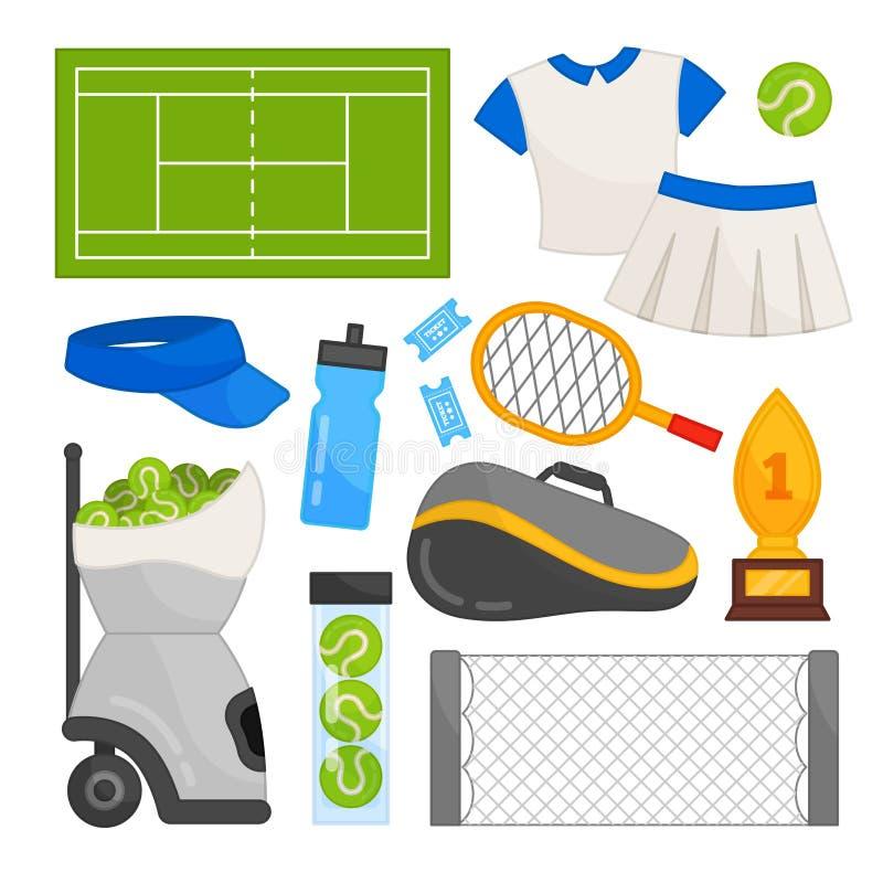 Wektorowy ustawiający wyposażenie dla tenisa ilustracja wektor