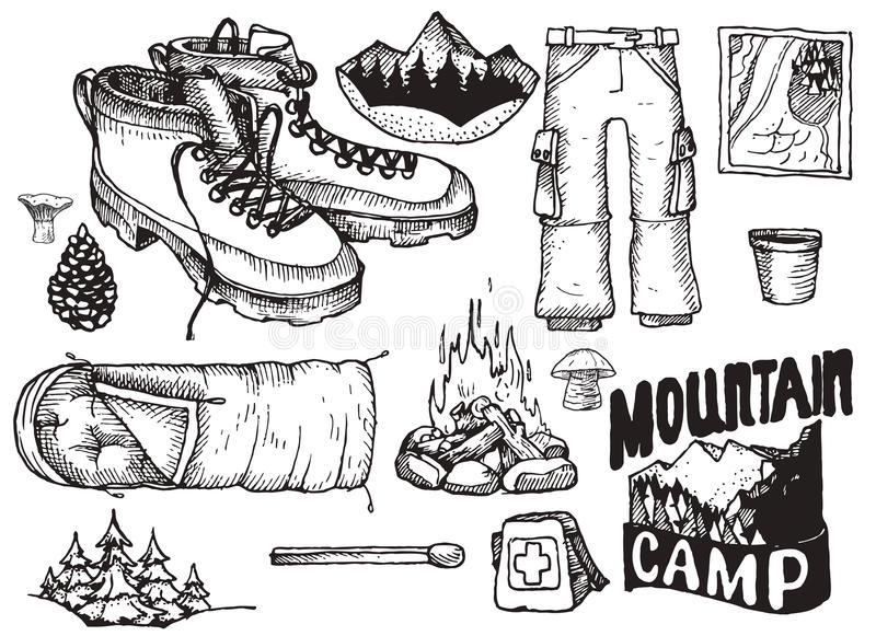 Wektorowy ustawiający wysoce szczegółowa ręka rysujący campingu materiał Rocznik podpisuje kolekcję ilustracja wektor