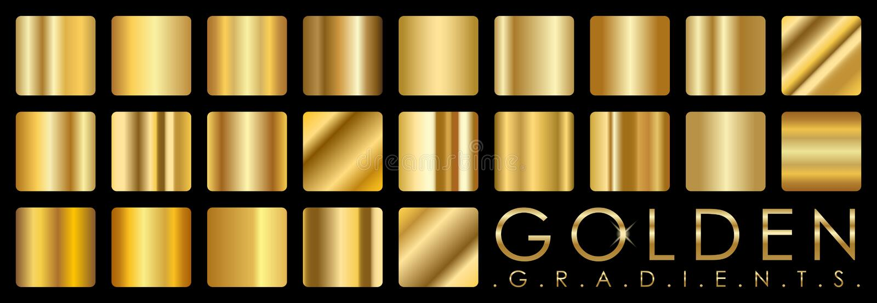 Wektorowy ustawiający złoci gradienty obrazy royalty free