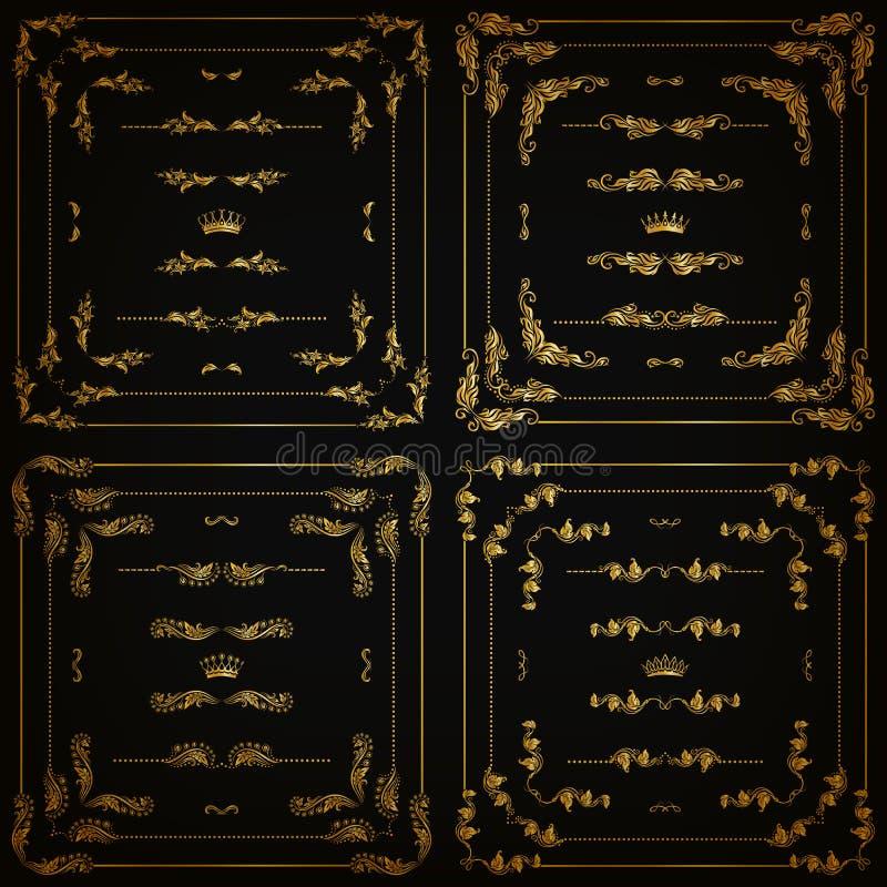 Wektorowy ustawiający złociste dekoracyjne granicy, rama ilustracja wektor