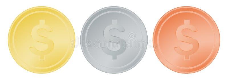 Wektorowy ustawiający złoto brązu i srebra dolar ilustracji