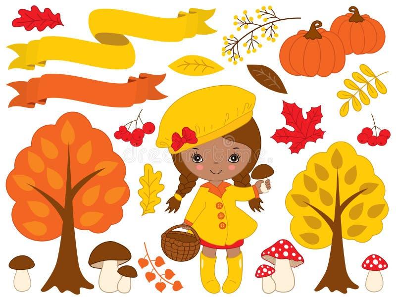 Wektorowy Ustawiający z Ślicznymi Małymi amerykanin afrykańskiego pochodzenia jesieni i dziewczyny elementami ilustracji