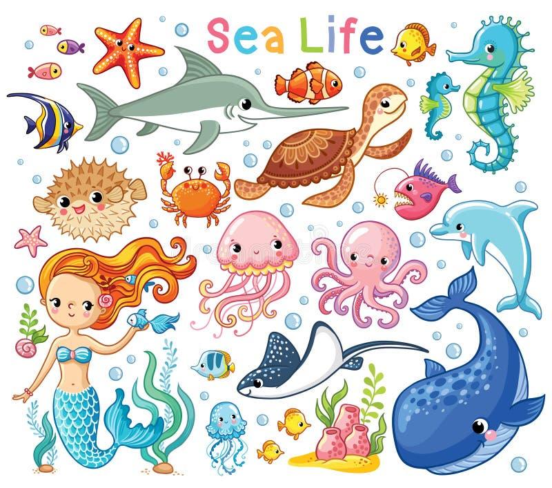 Wektorowy ustawiający z dennymi zwierzętami i syrenką Kolekcja morscy mieszkanowie royalty ilustracja