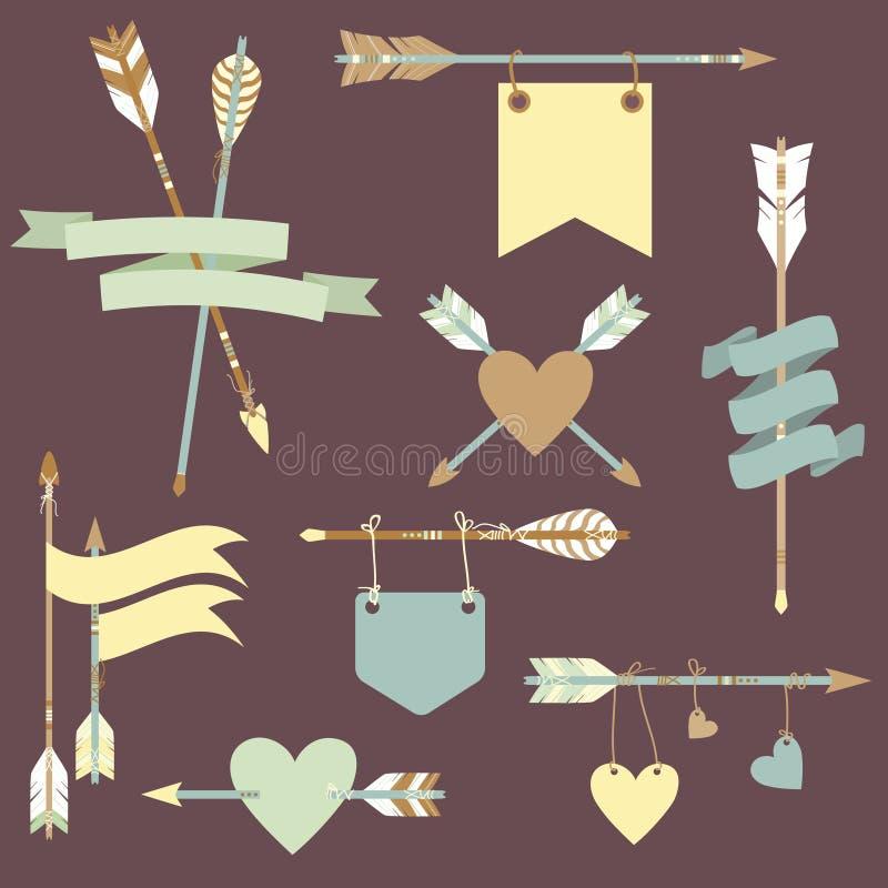 Wektorowy ustawiający z etnicznymi strzała, faborki, flaga, serca ilustracja wektor
