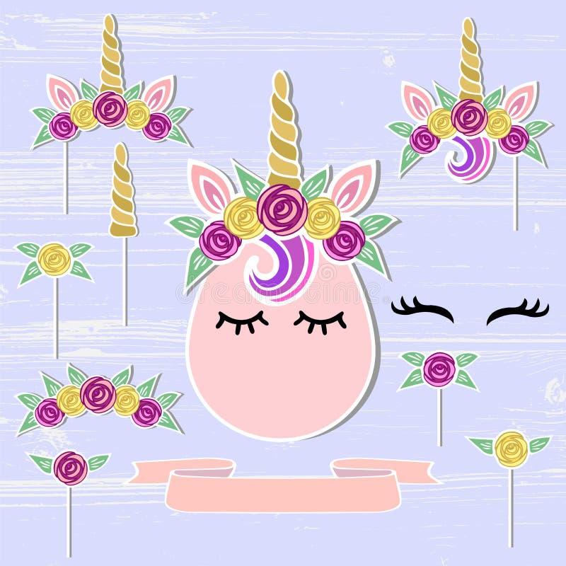 Wektorowy ustawiający z jednorożec, tiara, róg, kwiatu wianek ilustracji