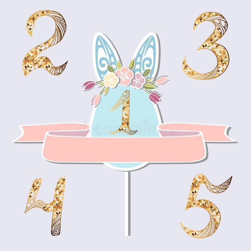 Wektorowy ustawiający z liczbą Jeden, królików ucho i kwiatu wiankiem, ilustracja wektor
