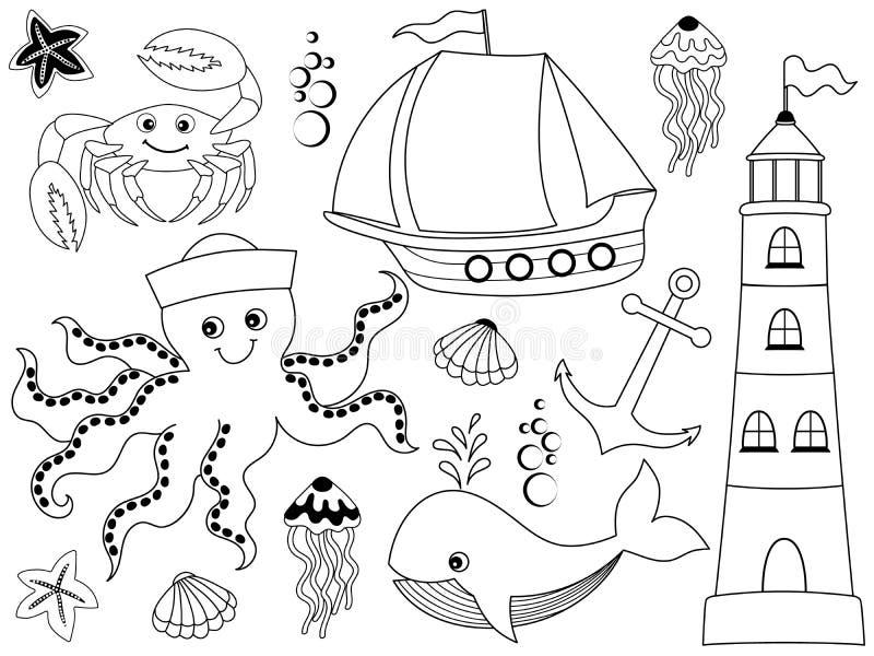 Wektorowy Ustawiający z Morskimi zwierzętami i przedmiotami ilustracja wektor