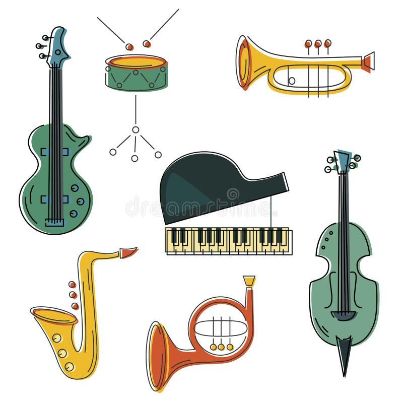 Wektorowy ustawiający z muzycznym instrumentem ilustracji