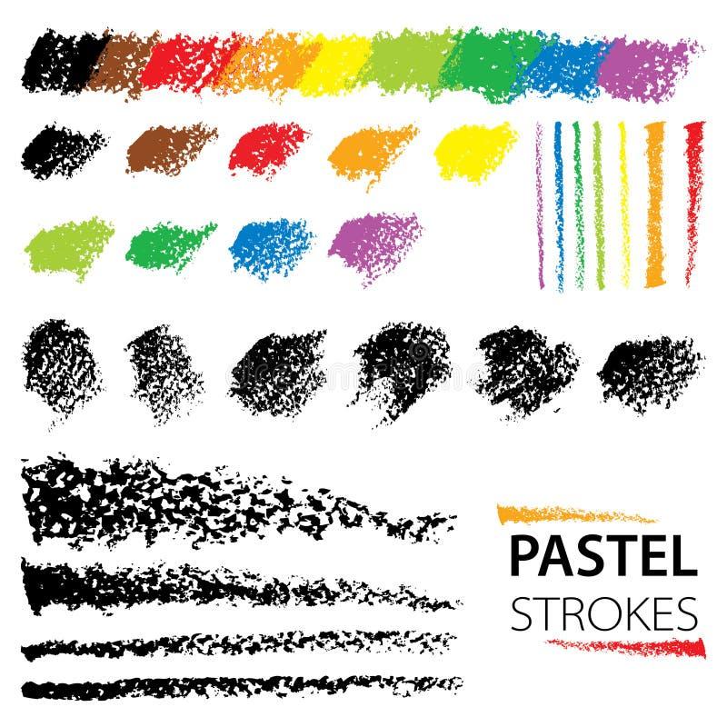 Wektorowy ustawiający z nafcianymi pastelowymi projektów elementami odizolowywającymi na białym tle Czerni abstrakcjonistycznych  royalty ilustracja