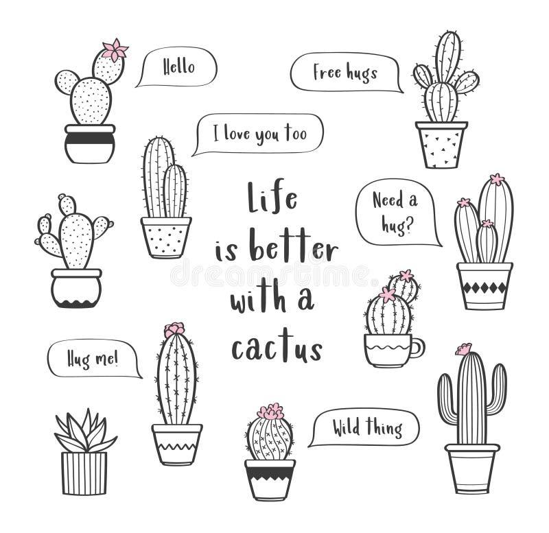 Wektorowy ustawiający z różnorodna ręka rysującymi konturów kaktusami w flowerpots ilustracji