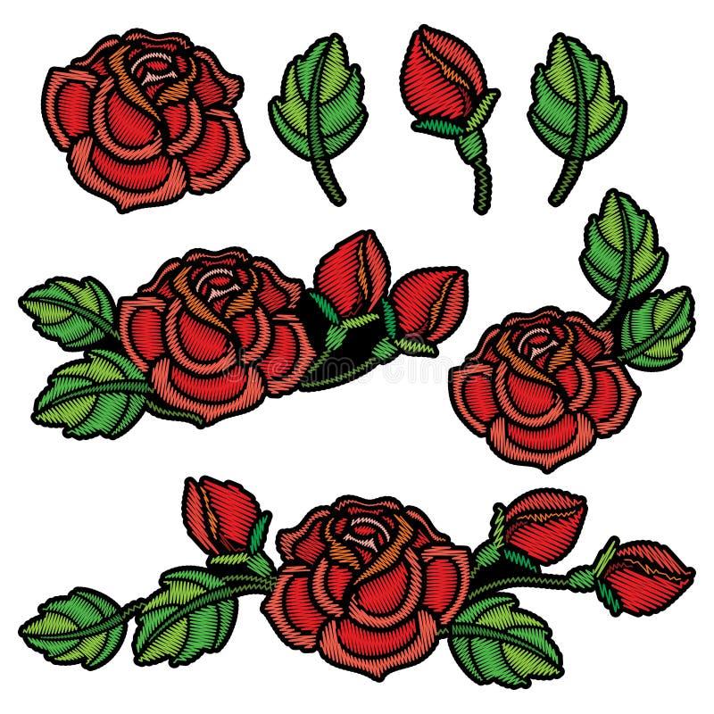Wektorowy ustawiający z składem hafciarski czerwieni róży kwiat, pączek i zieleń, opuszcza odosobniony Kwiecista łata z upiększon royalty ilustracja
