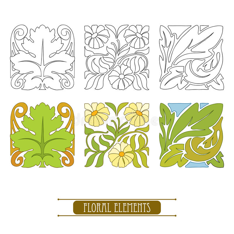 Wektorowy ustawiający z stylizowanymi kwiecistymi elementami w sztuce Nouveau lub Nowożytnym stylem w czerni w kolorze odizolowyw ilustracja wektor