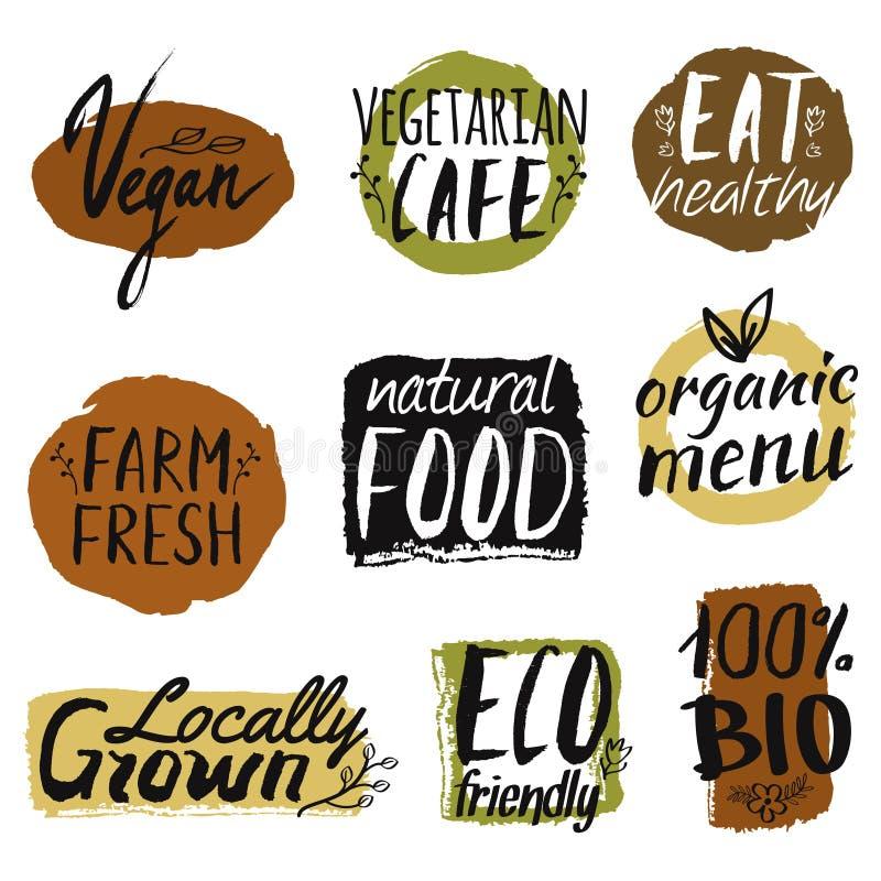 Wektorowy ustawiający z zdrowym, eco i żywność organiczna etykietkami, ilustracja wektor