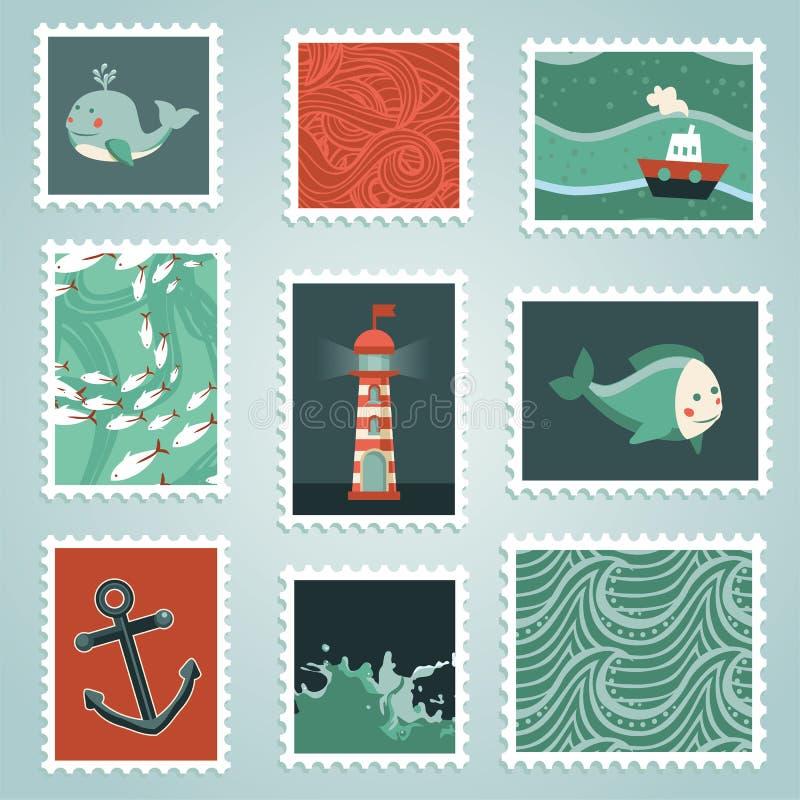 Wektorowy ustawiający z znaczkami i dennymi projektów elementami royalty ilustracja