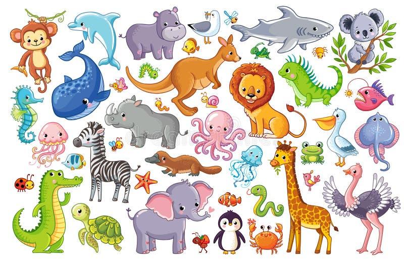 Wektorowy ustawiający z zwierzętami royalty ilustracja
