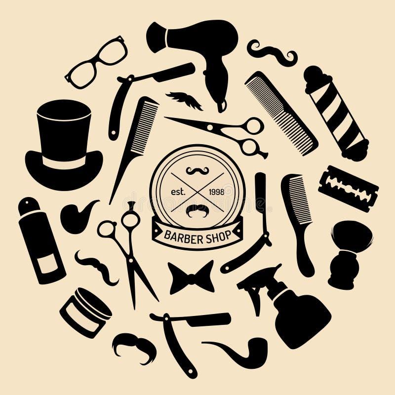 Wektorowy ustawiający zakład fryzjerski ikony w mieszkanie stylu Fryzjerstwo salonu elementy inkasowi royalty ilustracja