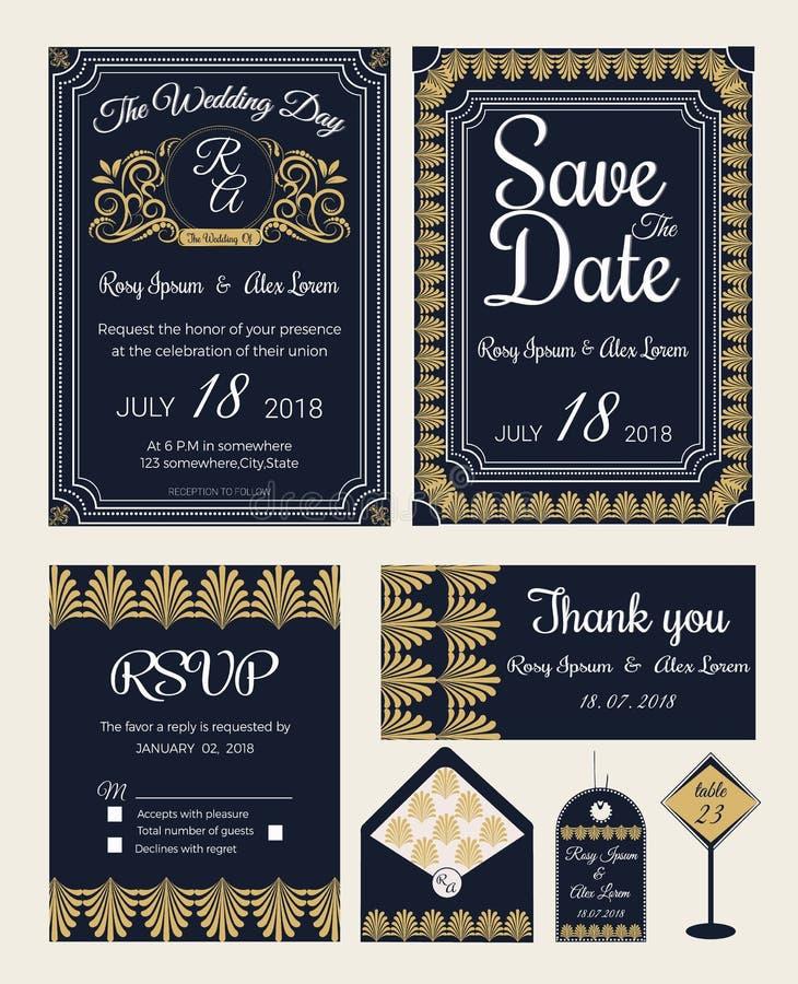 Wektorowy ustawiający zaproszenie karty z elementami Poślubia kolekcję royalty ilustracja