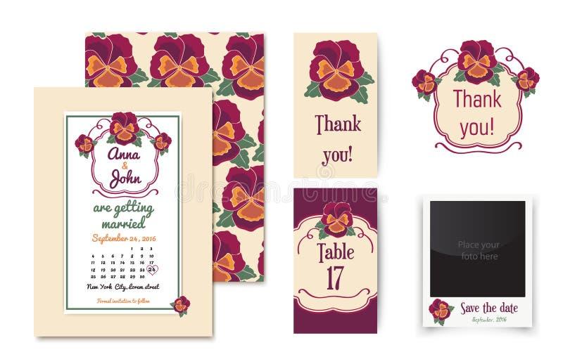 Wektorowy ustawiający zaproszenie karty z kwiecistą odznaką i eleganckim tłem Rocznik karty lub ślubni zaproszenia _ ilustracji