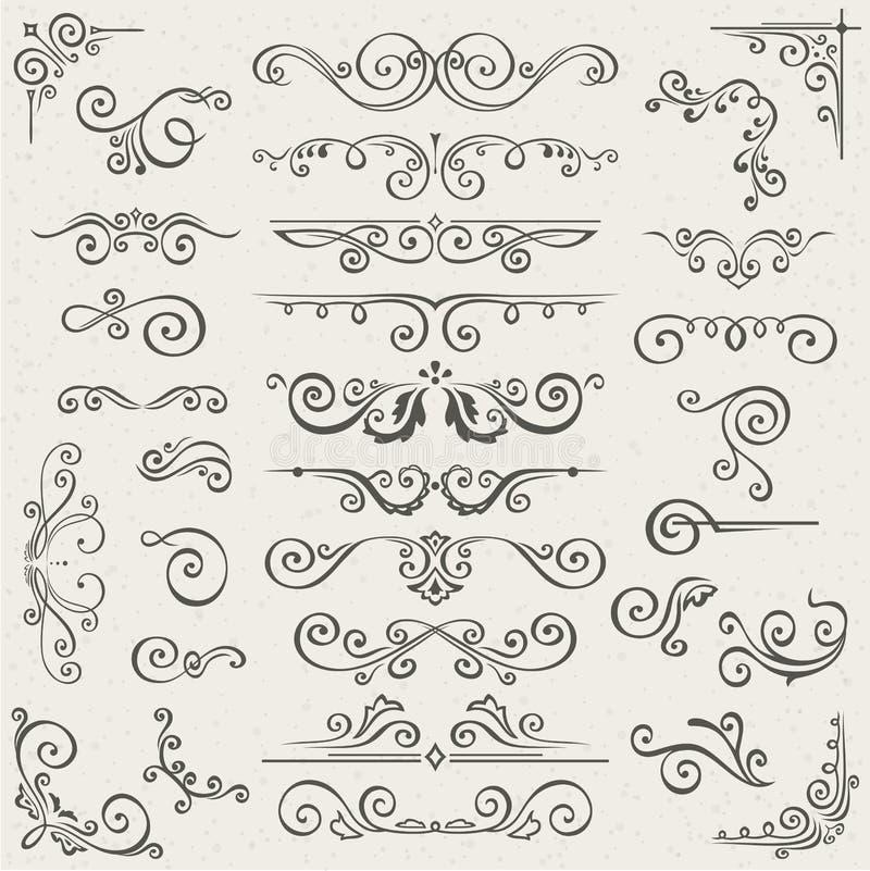 Wektorowy ustawiający zawijasów elementy dla projekta Kaligraficzna strony dekoracja, etykietki, sztandary, antyk i barok ramy, ilustracji
