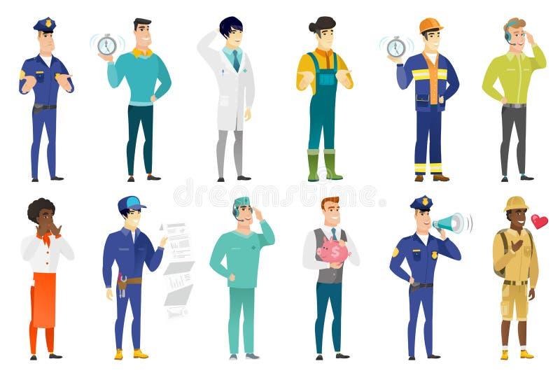 Wektorowy ustawiający zawodów charaktery ilustracji