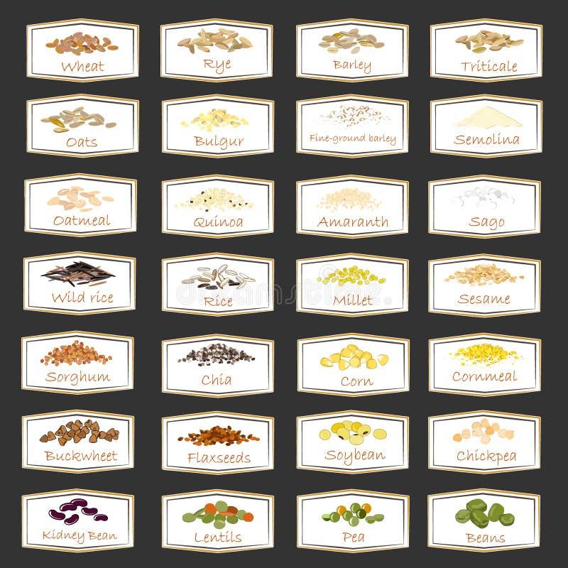 Wektorowy ustawiający zboża i adry emblematy dla pakować, reklamuje zdrowego jedzenie, majchery dla domowych słojów royalty ilustracja