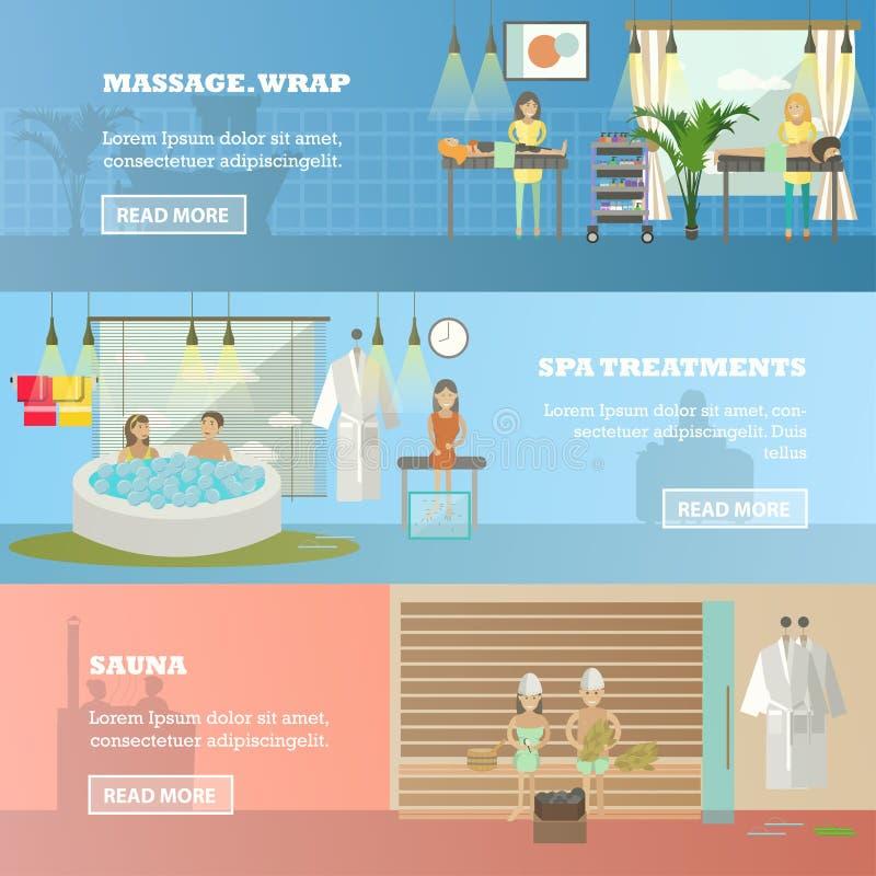 Wektorowy ustawiający zdrój terapii pojęcia horyzontalni sztandary w mieszkanie stylu ilustracji