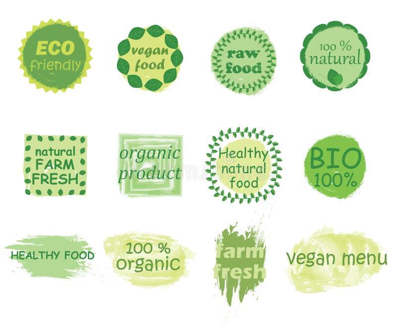 Wektorowy ustawiający zdrowe żywność organiczna etykietki ilustracja wektor