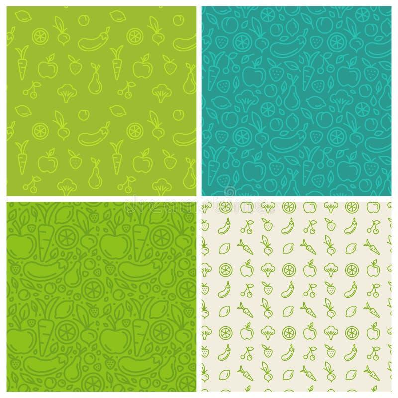 Wektorowy ustawiający zieleni bezszwowi wzory royalty ilustracja