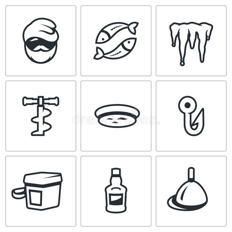 Wektorowy Ustawiający zima połowu ikony Rybak, ryba, lód Topi, bur, dziura, haczyk, kreślarz, napój, pławik ilustracja wektor