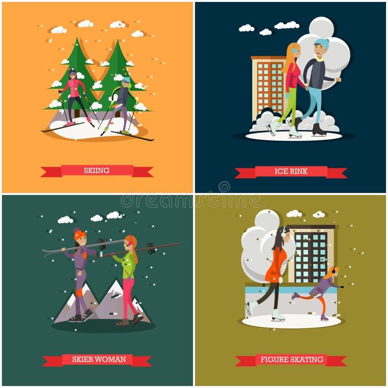 Wektorowy ustawiający zima sporty i rekreacyjni pojęcie plakaty, sztandary royalty ilustracja