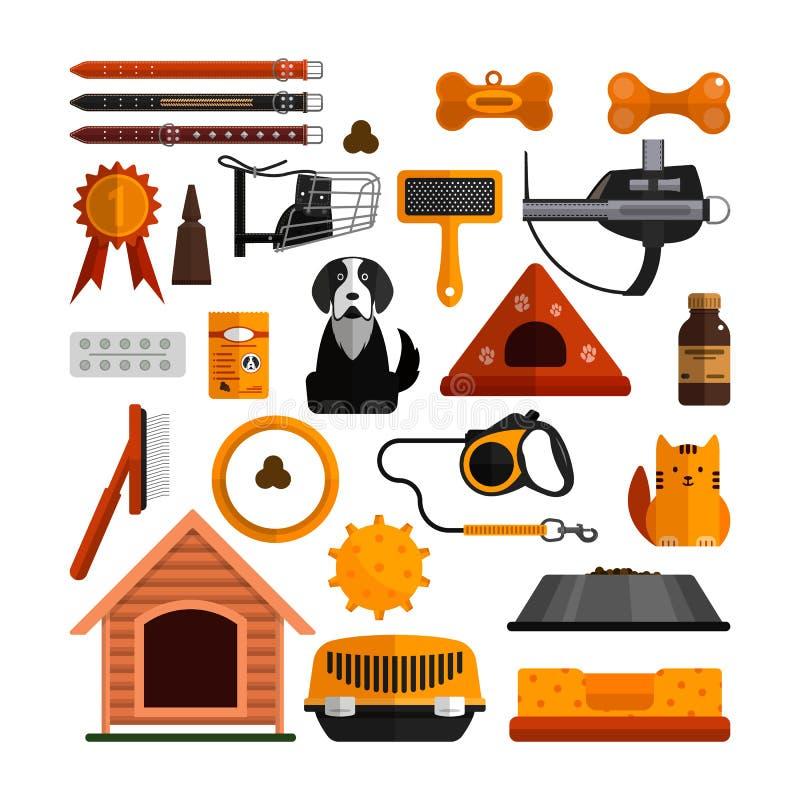 Wektorowy ustawiający zwierząt domowych akcesoria na białym tle Pies i kot projekta elementy, ikony w mieszkaniu projektują ilustracji